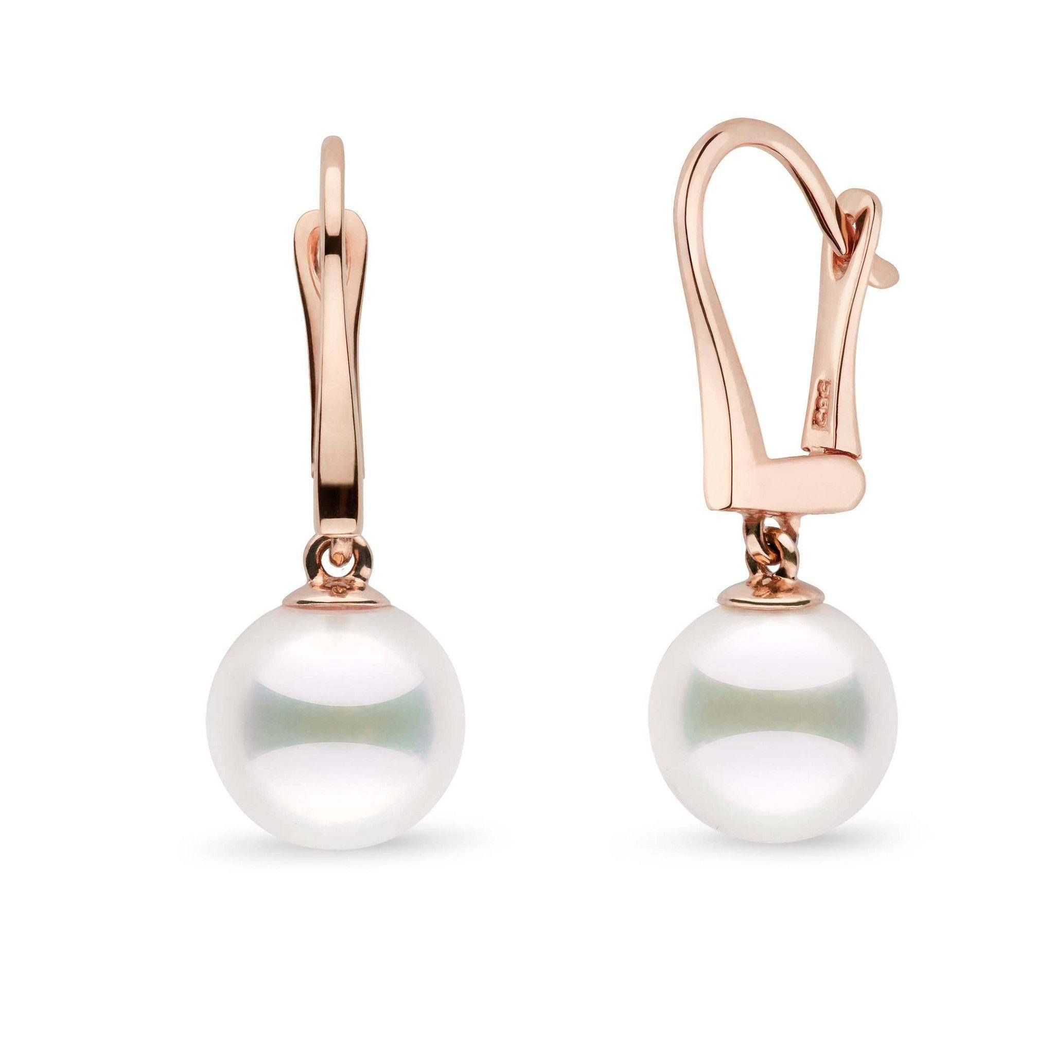 Classic Collection White Akoya 9.0-9.5 mm Pearl Dangle Earrings