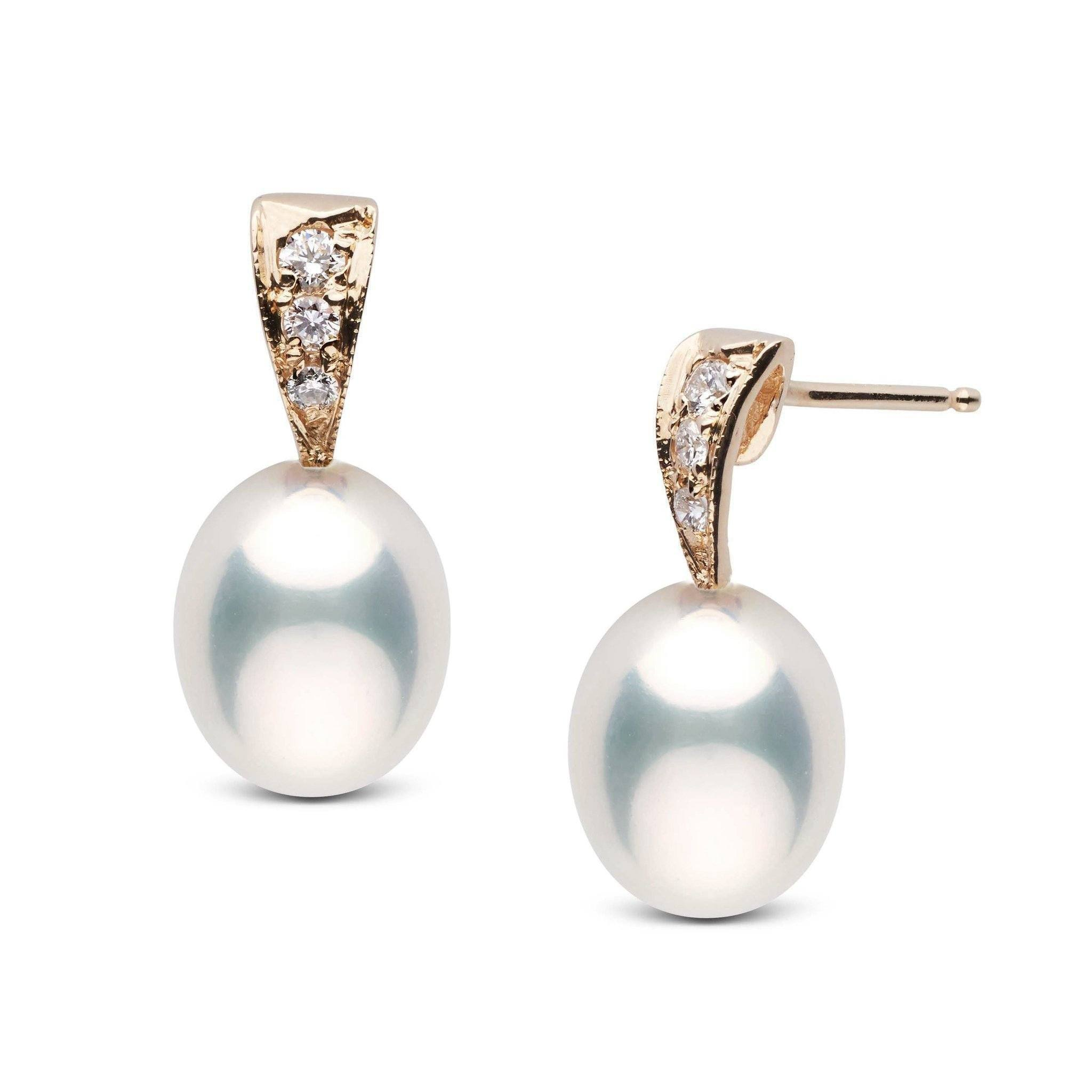 Desire Collection White Freshwater Drop 9.0-10.0 mm Pearl and Diamond Earrings