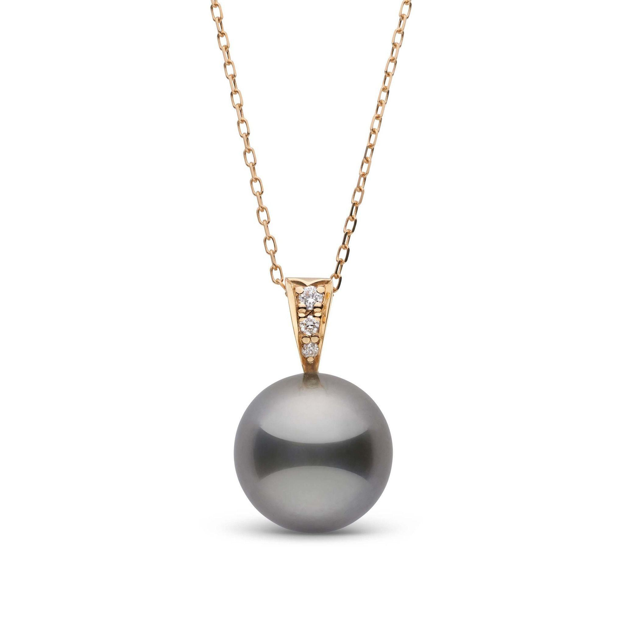 Desire Collection 11.0-12.0 mm Tahitian Pearl and Diamond Pendant