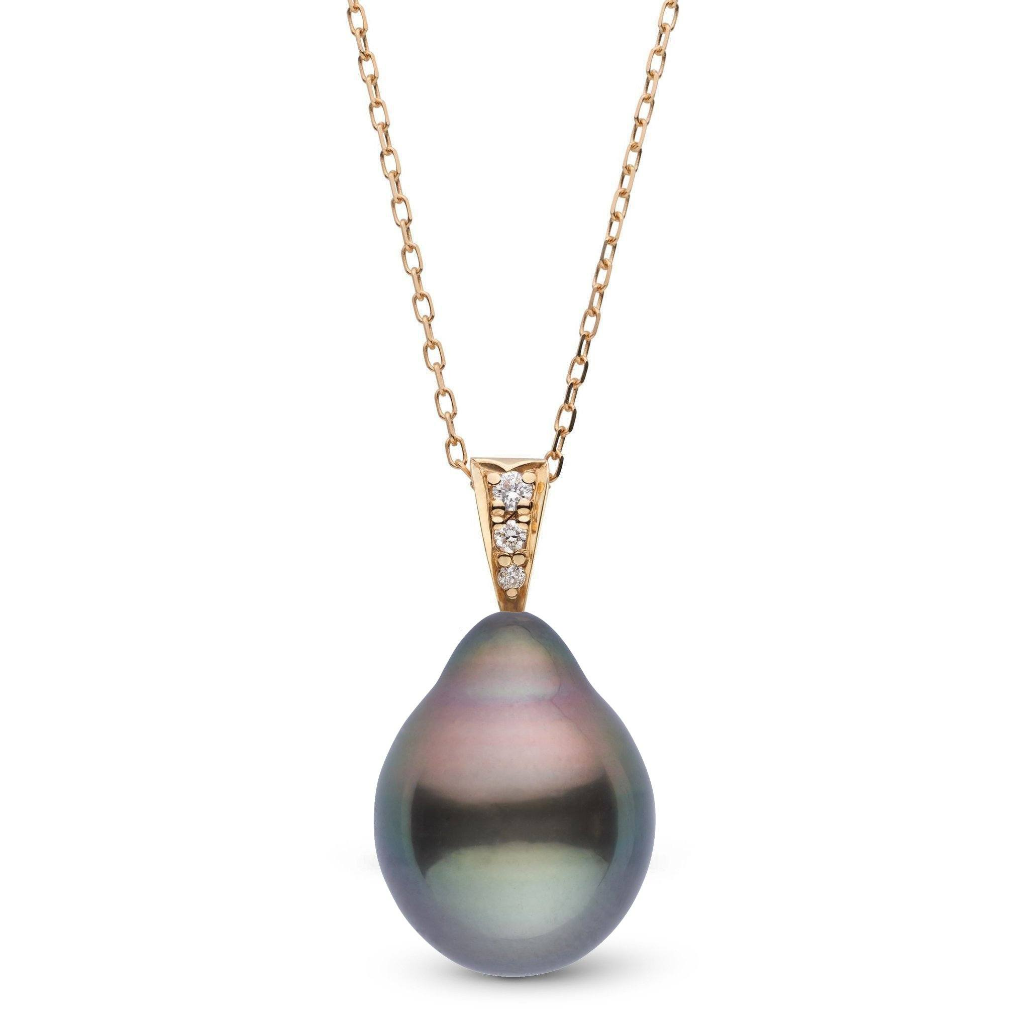 Desire Collection 11.0-12.0 mm Drop Tahitian Pearl & Diamond Pendant