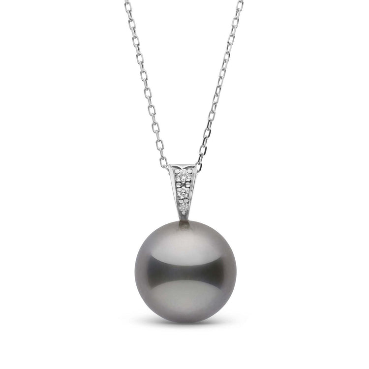 Desire Collection 12.0-13.0 mm Tahitian Pearl and Diamond Pendant