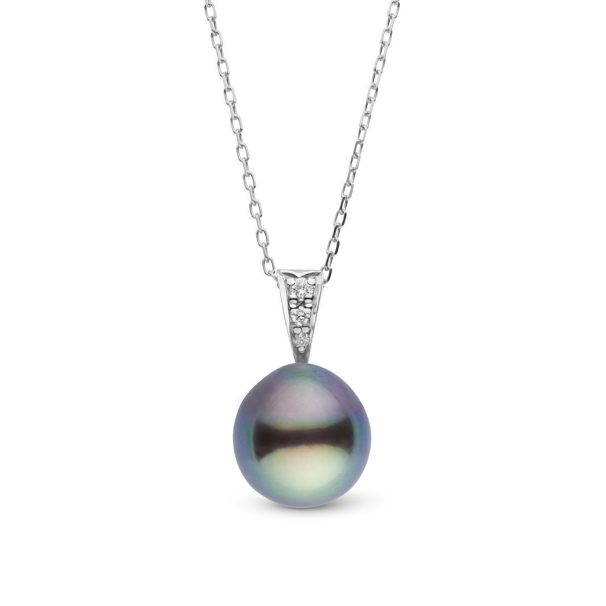 Desire Collection 8.0-9.0 mm Drop Tahitian Pearl & Diamond Pendant