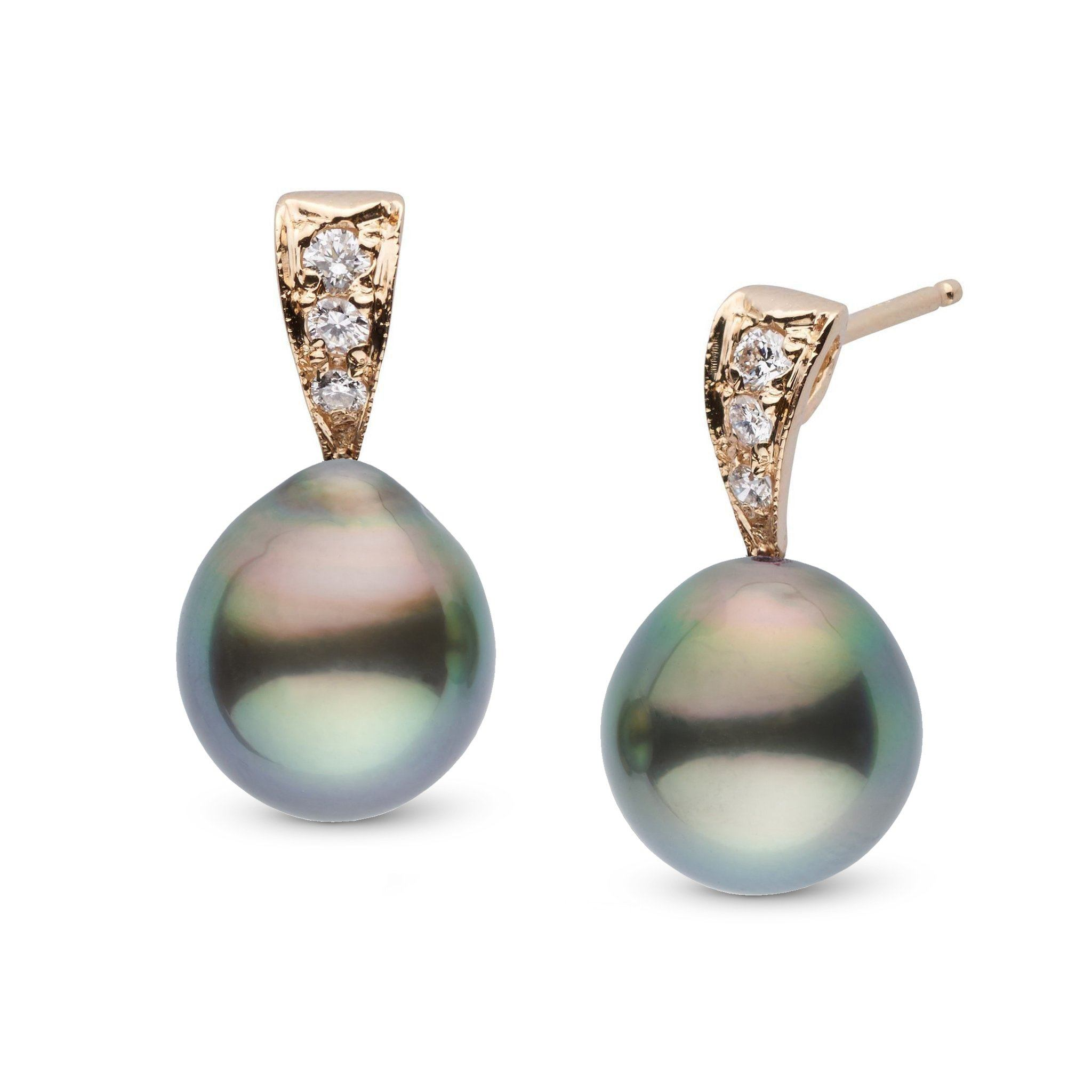 Desire Collection 9.0-10.0 mm Drop Tahitian Pearl & Diamond Earrings