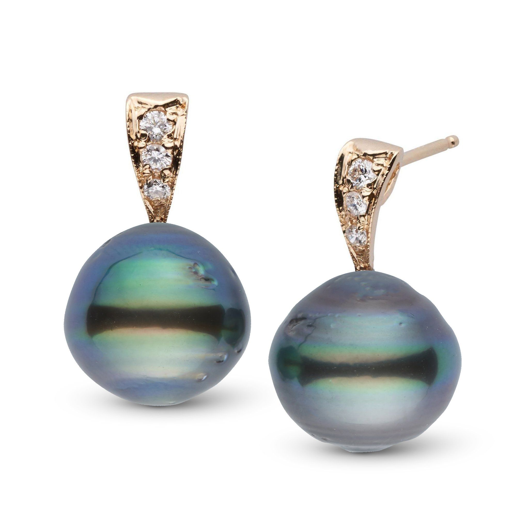 Desire Collection 11.0-12.0 mm Baroque Tahitian Pearl & Diamond Earrings