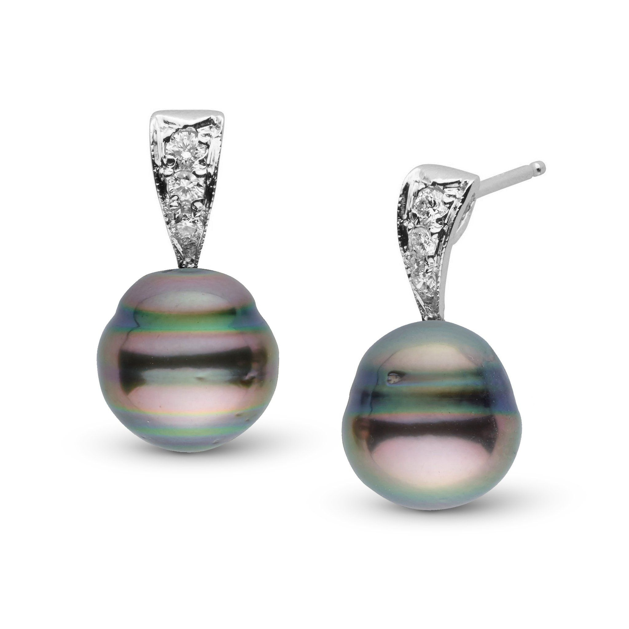 Desire Collection 8.0-9.0 mm Baroque Tahitian Pearl & Diamond Earrings