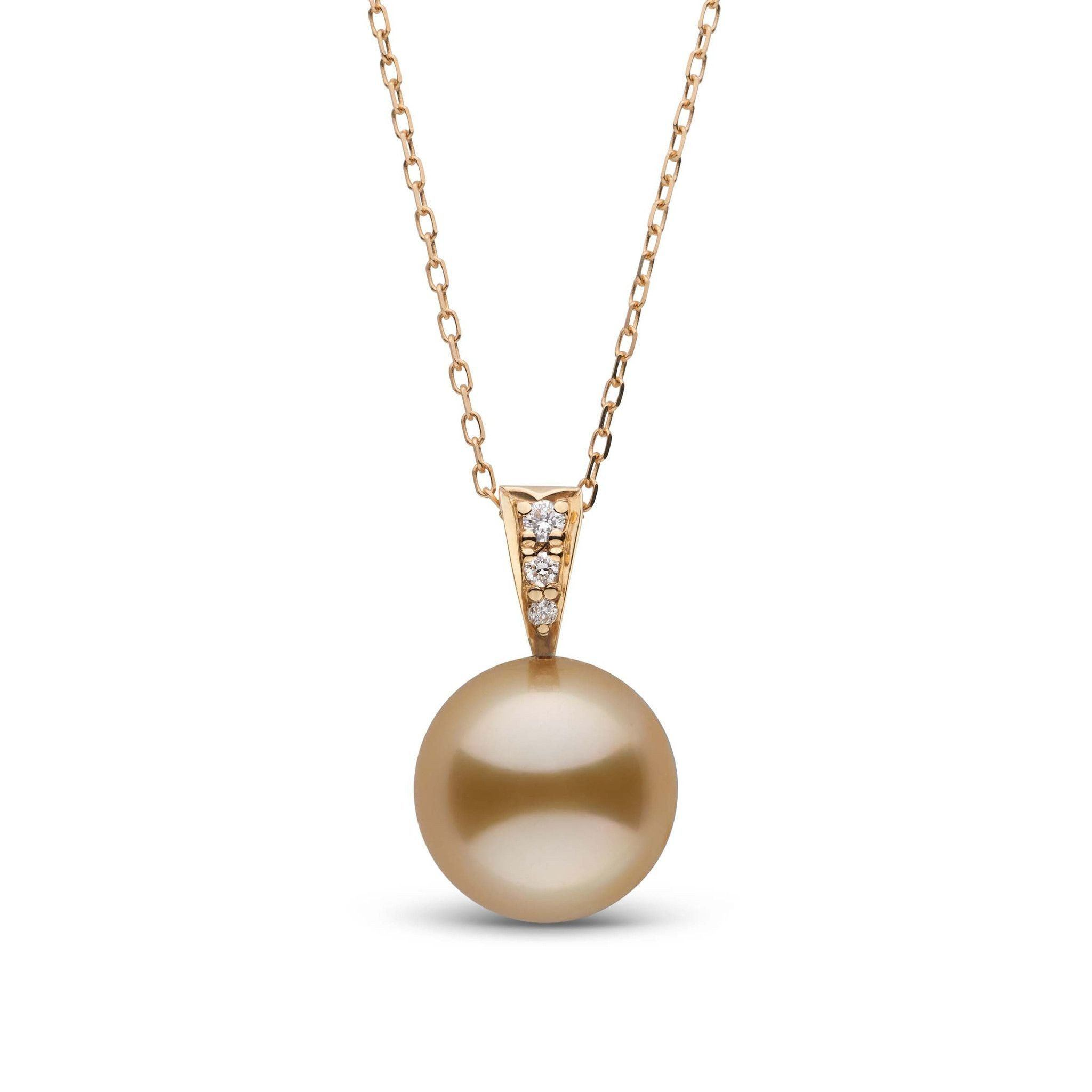 Desire Collection Golden 10.0-11.0 mm South Sea Pearl and Diamond Pendant