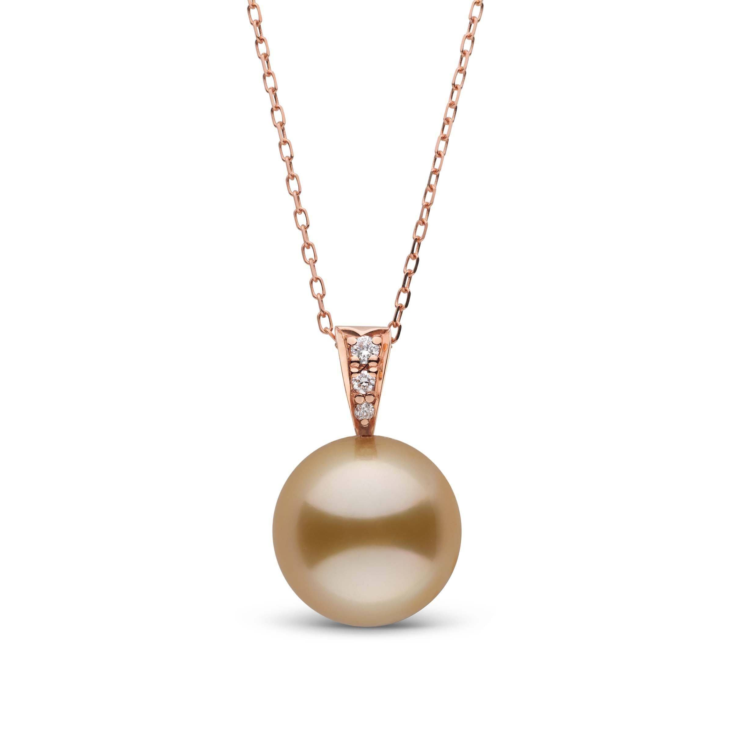 Desire Collection Golden 11.0-12.0 mm South Sea Pearl and Diamond Pendant