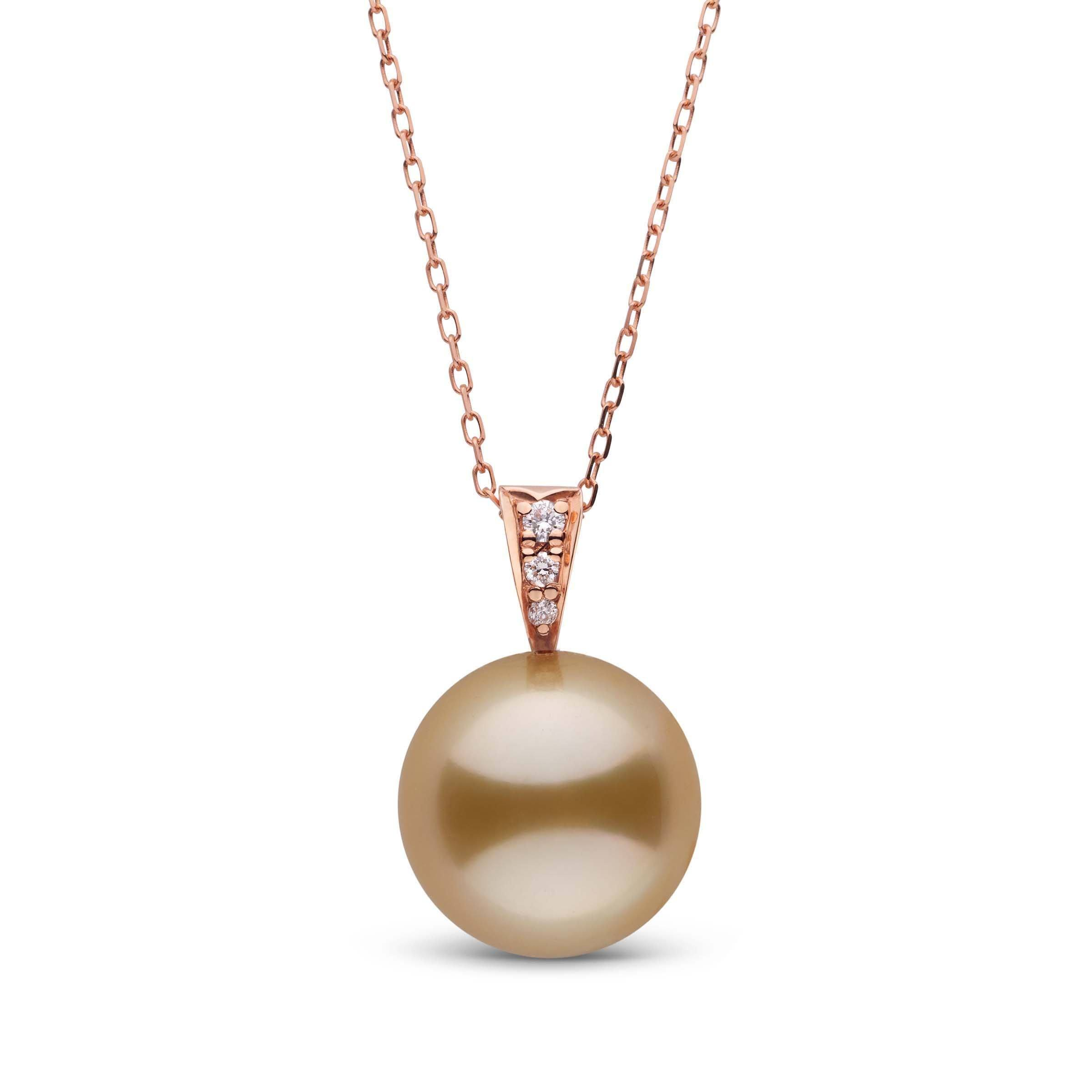 Desire Collection Golden 12.0-13.0 mm South Sea Pearl and Diamond Pendant
