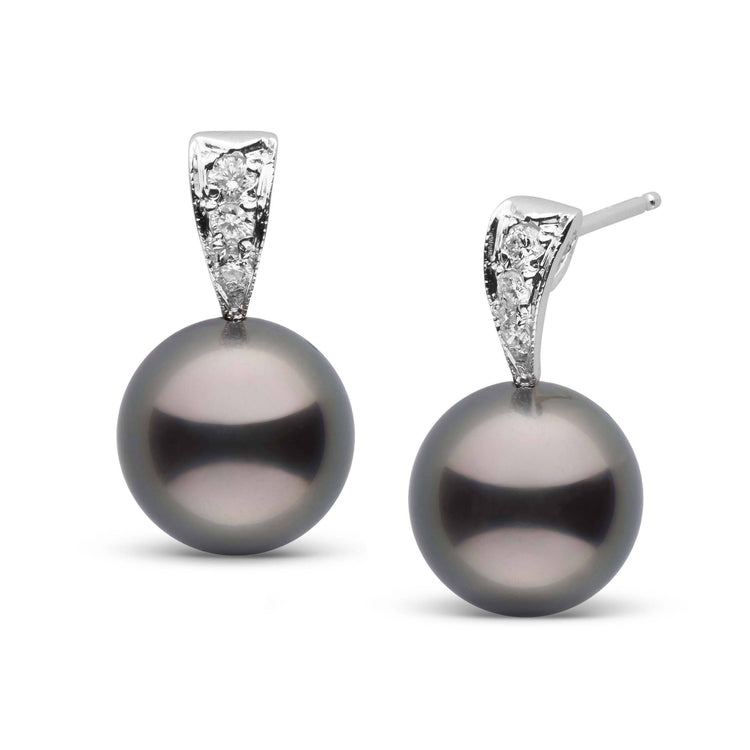 Desire Collection Tahitian Pearl and Diamond Earrings in Sterling Silver