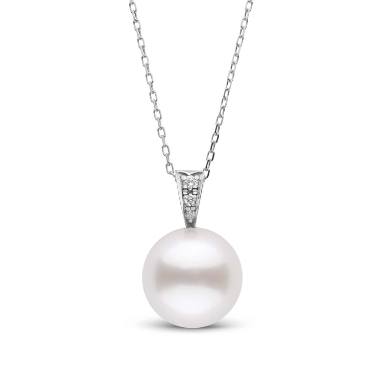 Desire Collection White South Sea 11.0-12.0 mm Pearl and Diamond Pendant in Sterling Silver