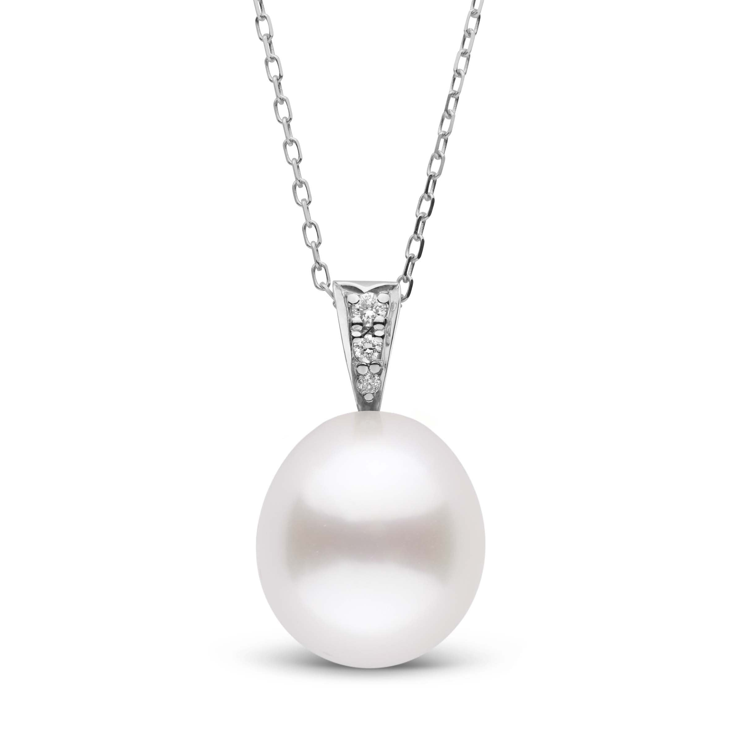 Desire Collection White South Sea Drop 11.0-12.0 mm Pearl and Diamond Pendant