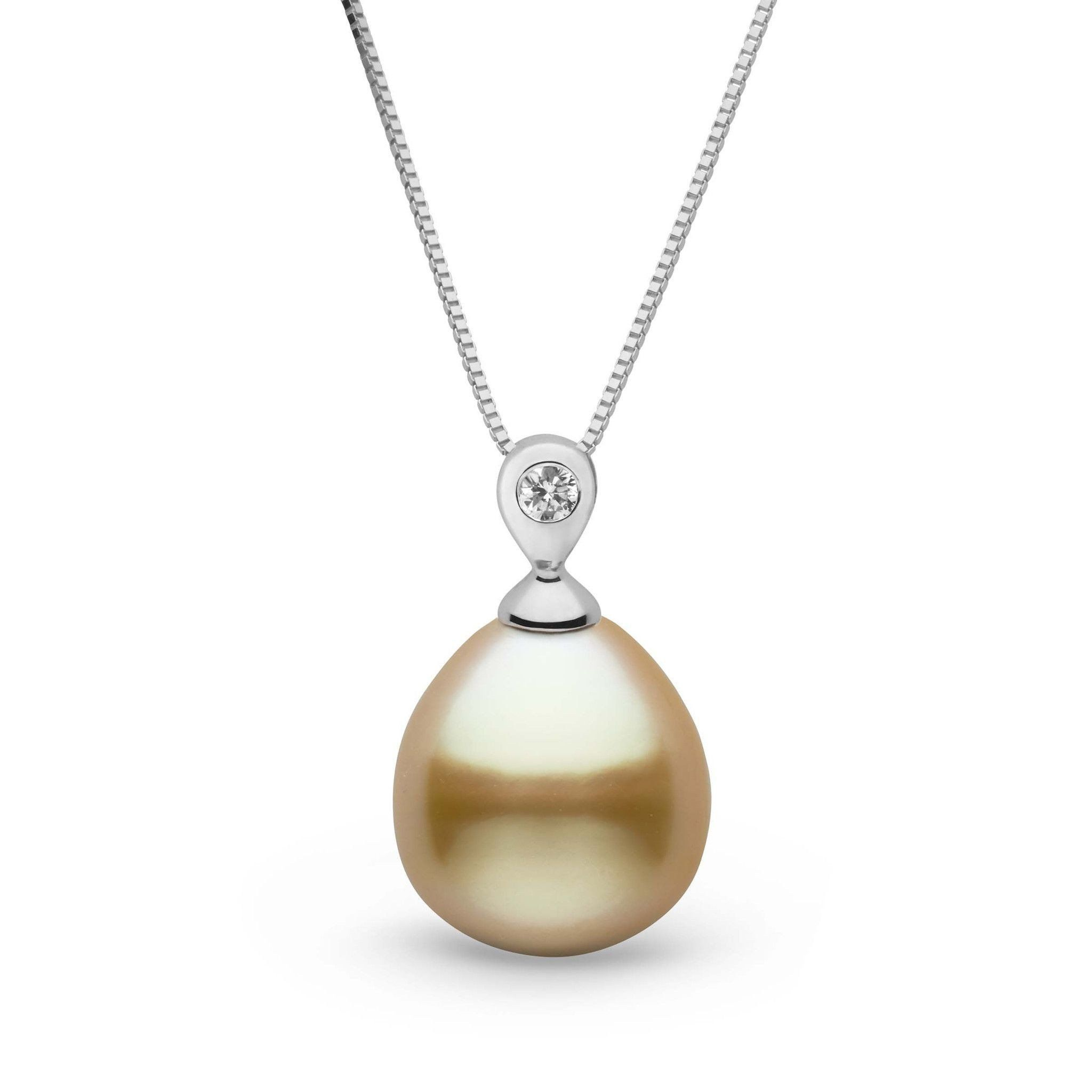 Dew Collection Drop Golden 10.0-11.0 mm South Sea Pearl and Diamond Pendant