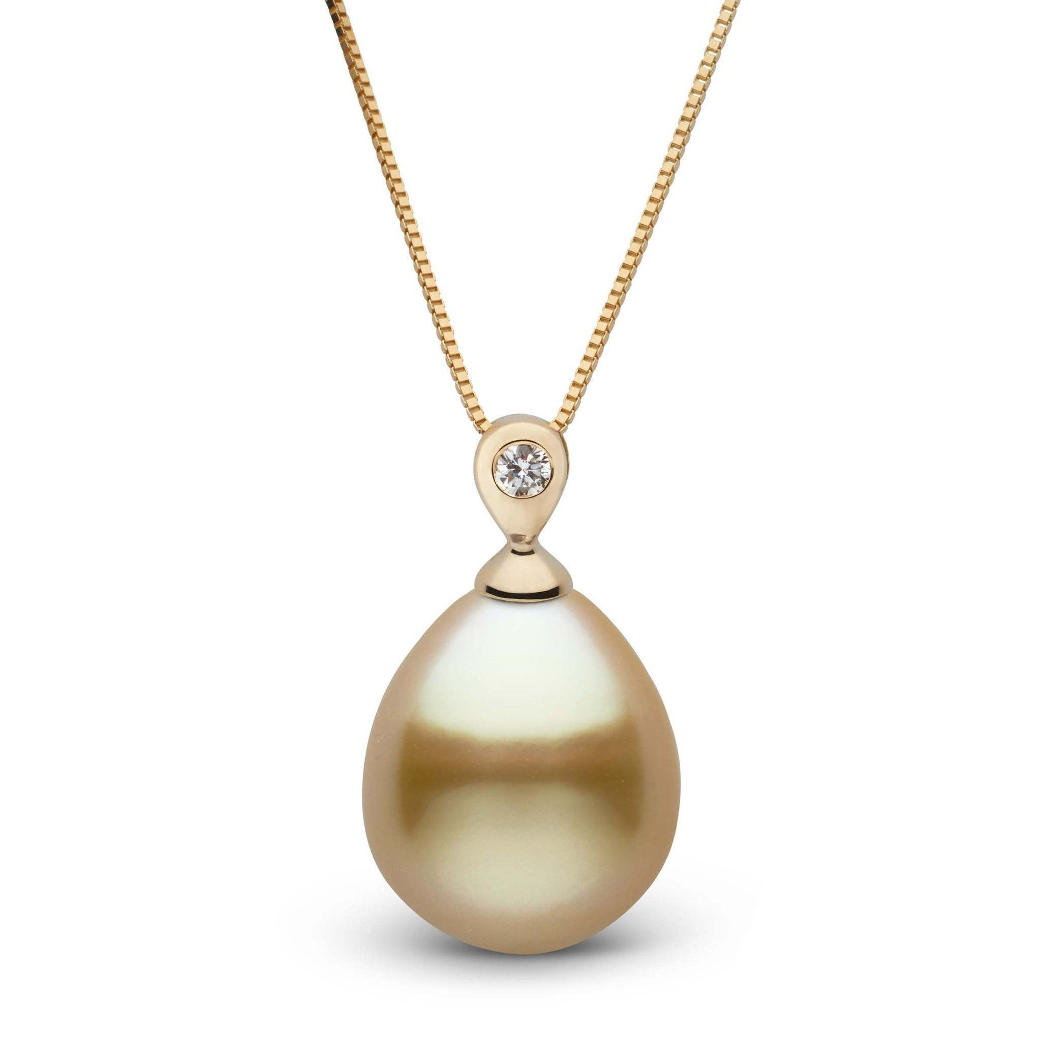 Dew Collection Drop Golden 11.0-12.0 mm South Sea Pearl and Diamond Pendant