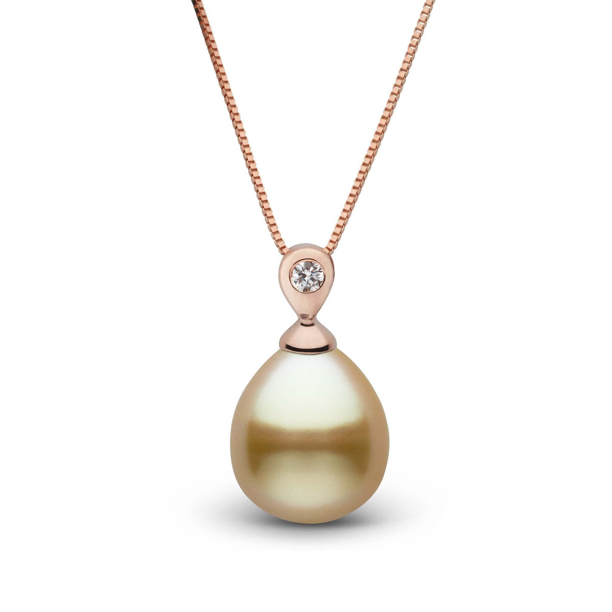 Dew Collection Drop Golden 9.0-10.0 mm South Sea Pearl and Diamond Pendant