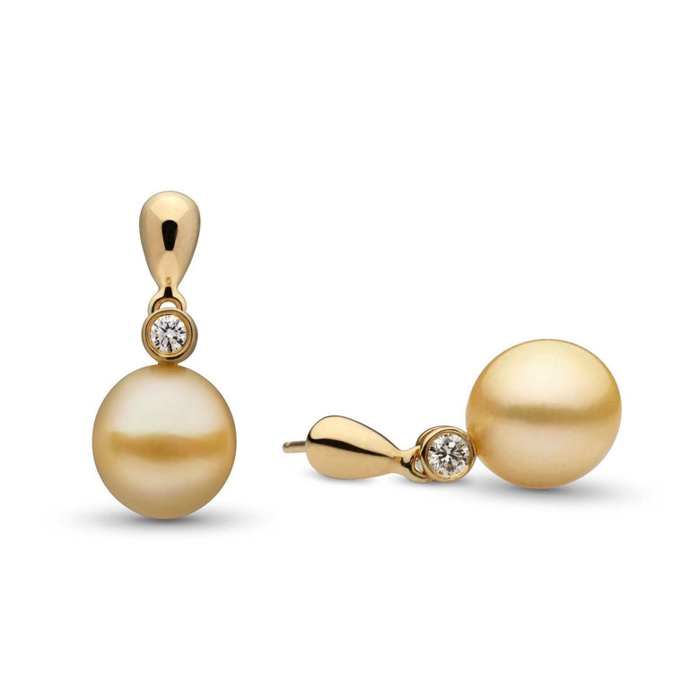 Dew Collection Drop Golden South Sea 9.0-10.0 mm Pearl and Diamond Earrings