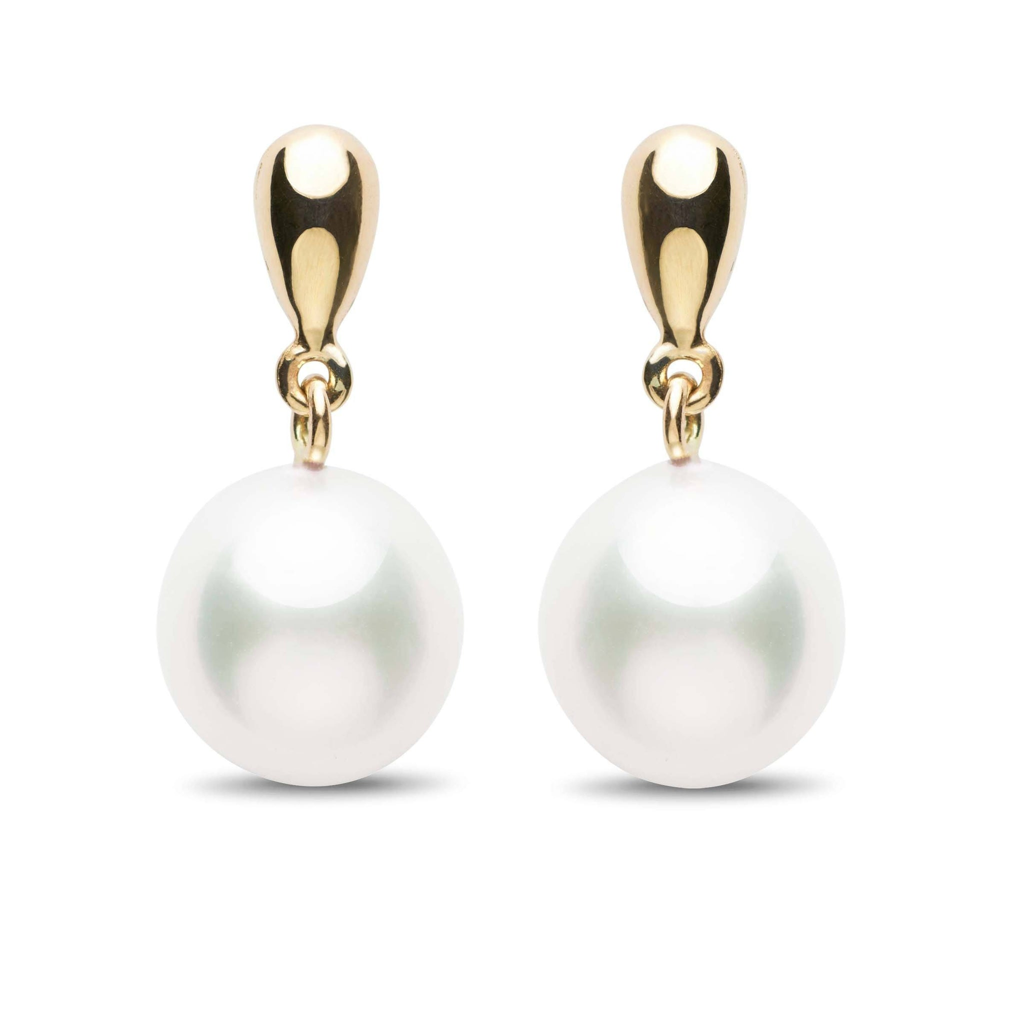 modern cut real gold pearls brilliant earrings round drop in diamonds pearl dangle white product