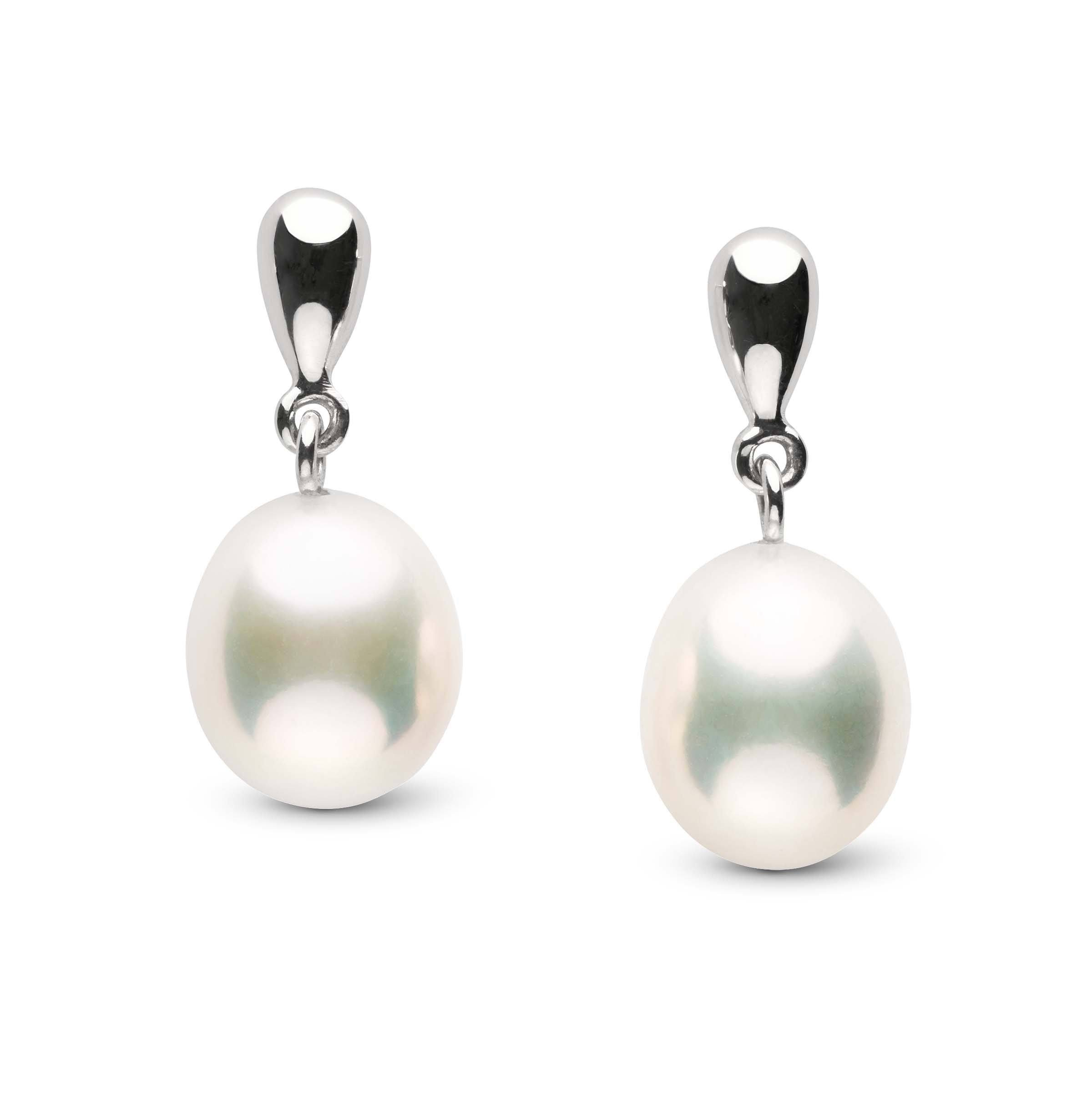 Dew Collection Metallic White Freshwater Drop 9.0-10.0 mm Pearl Earrings