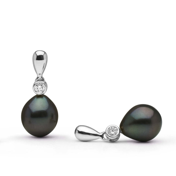 Dew Collection Tahitian Drop Pearl and Diamond Earrings