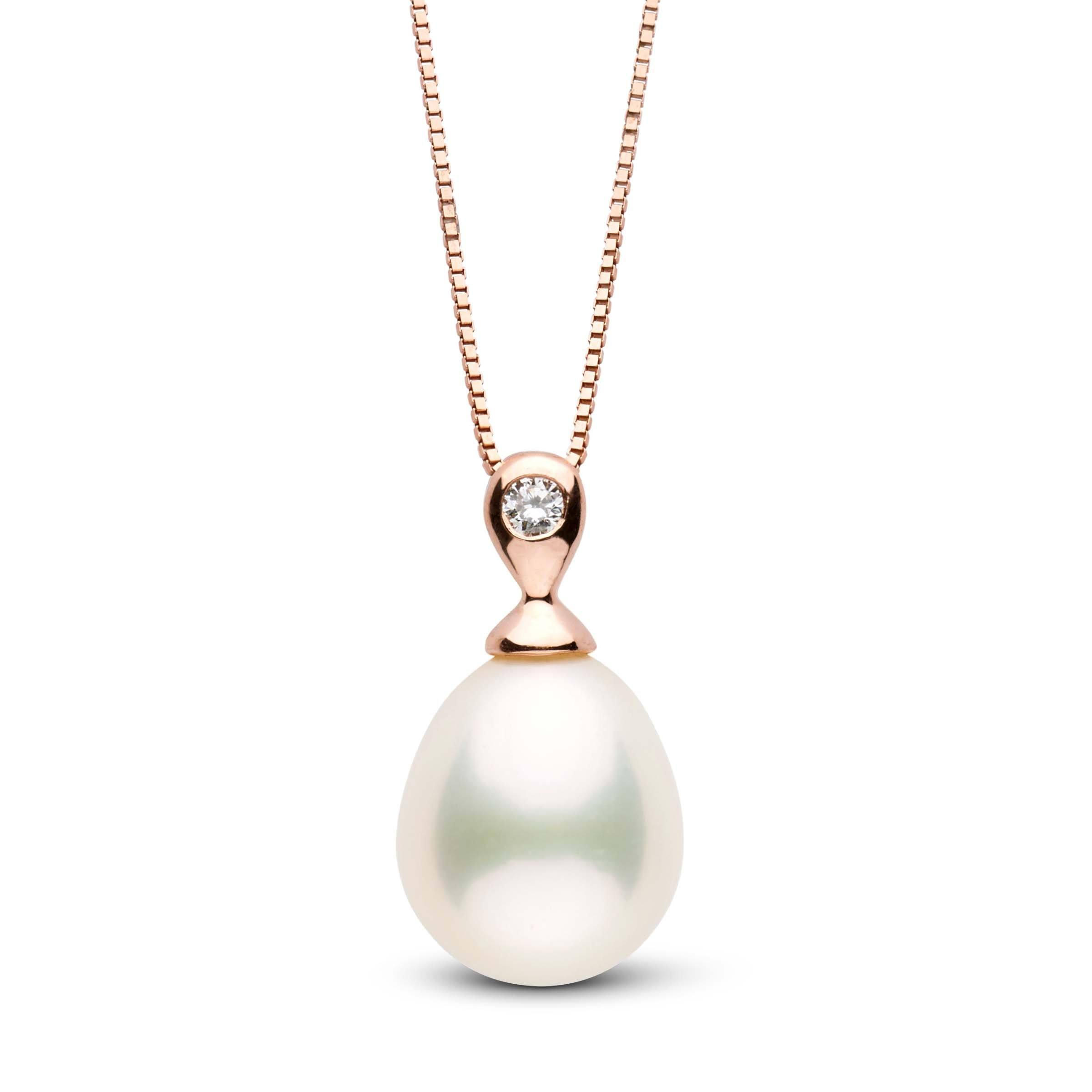 Dew Collection White Drop Freshwater Pearl and Diamond Pendant