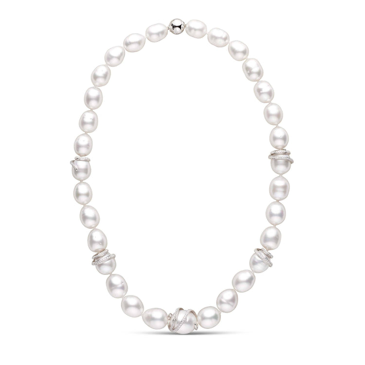 Diamond Swirl Collection White South Sea Drop Pearl Necklace