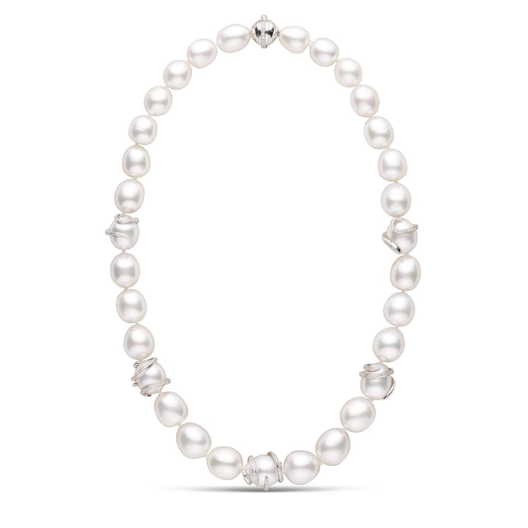 Diamond Swirl Collection White South Sea Drop Pearl Necklace with Diamond Ball Clasp