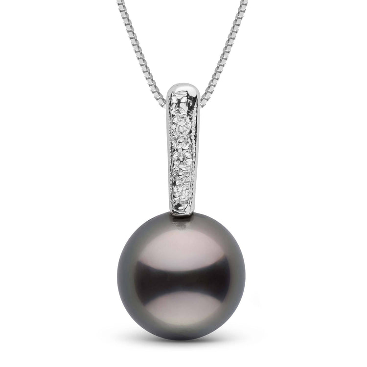 Divine Collection Tahitian Pearl and pave Diamond Pendant in Sterling Silver