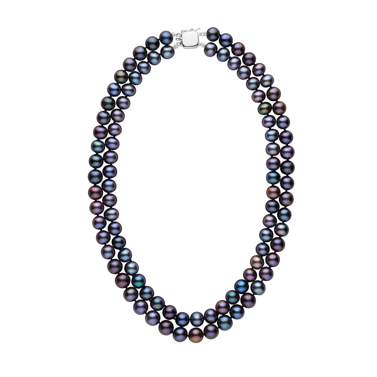 Double Strand 8.5-9.0 mm AA+ Black Freshwater Pearl Necklace