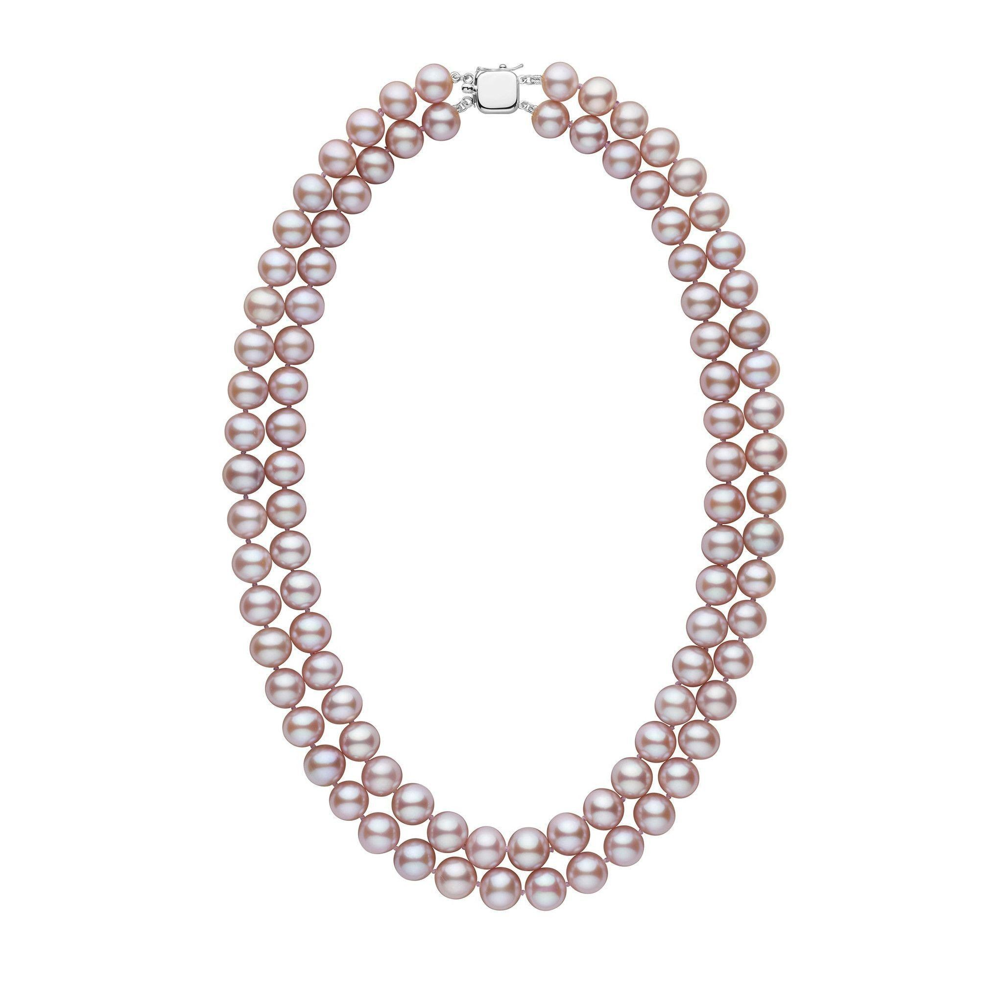 Double Strand 8.5-9.0 mm AA+ Lavender Freshwater Pearl Necklace