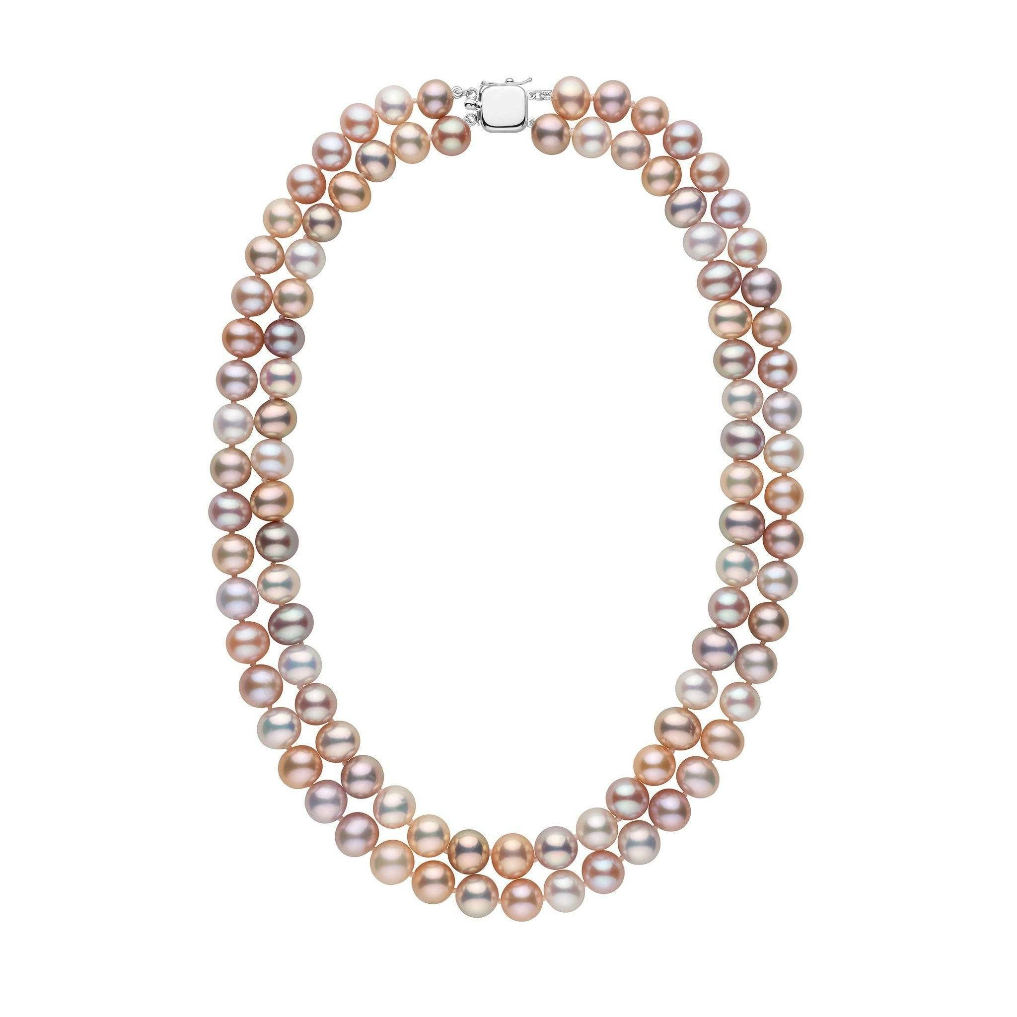 necklace short gold pearl en pink grace three cm rows rose plated folli hires