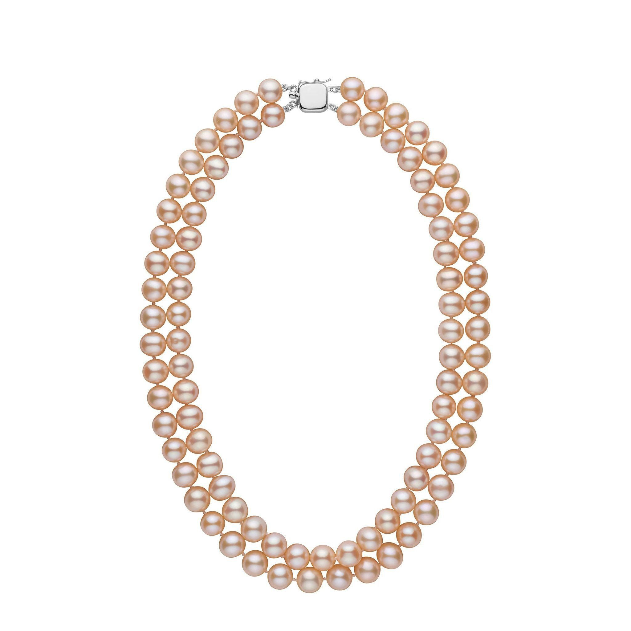 Double Strand 8.5-9.0 mm AA+ Pink to Peach Freshwater Pearl Necklace