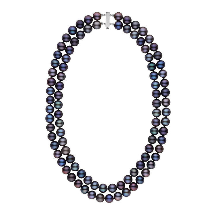 Double Strand 8.5-9.0 mm AAA Black Freshwater Pearl Necklace