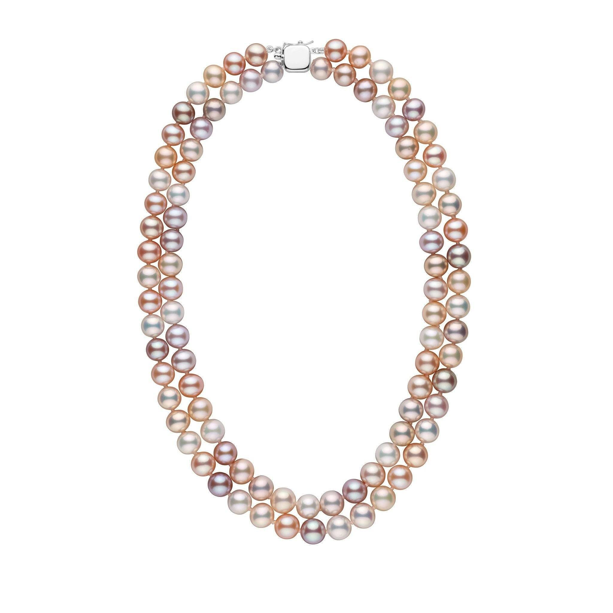 Double Strand 8.5-9.0 mm AAA Multicolor Freshwater Pearl Necklace