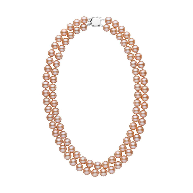 Double Strand 8.5-9.0 mm AAA Pink to Peach Freshwater Pearl Necklace