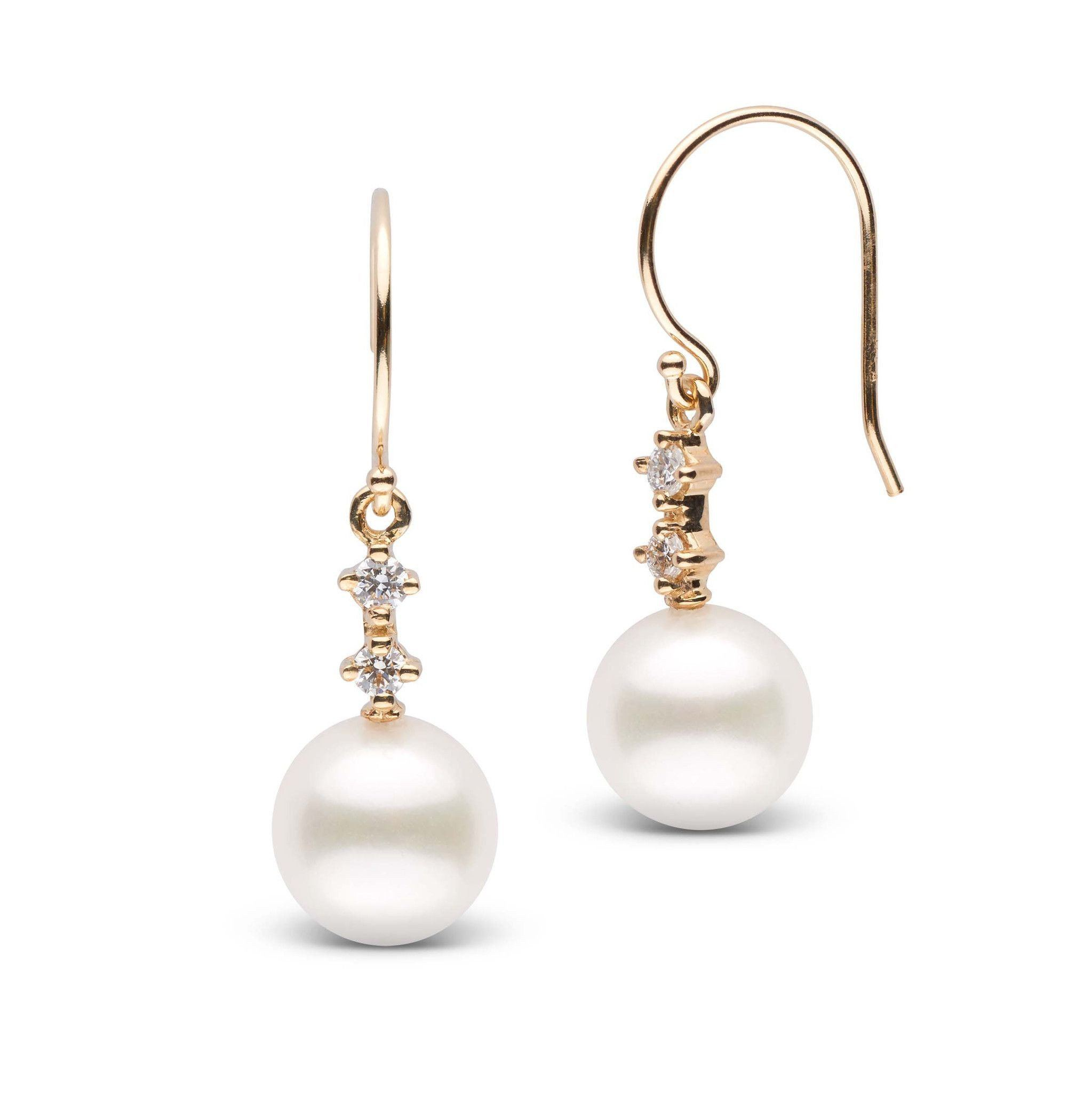 Duet Collection Freshadama White Pearl and Diamond Earrings