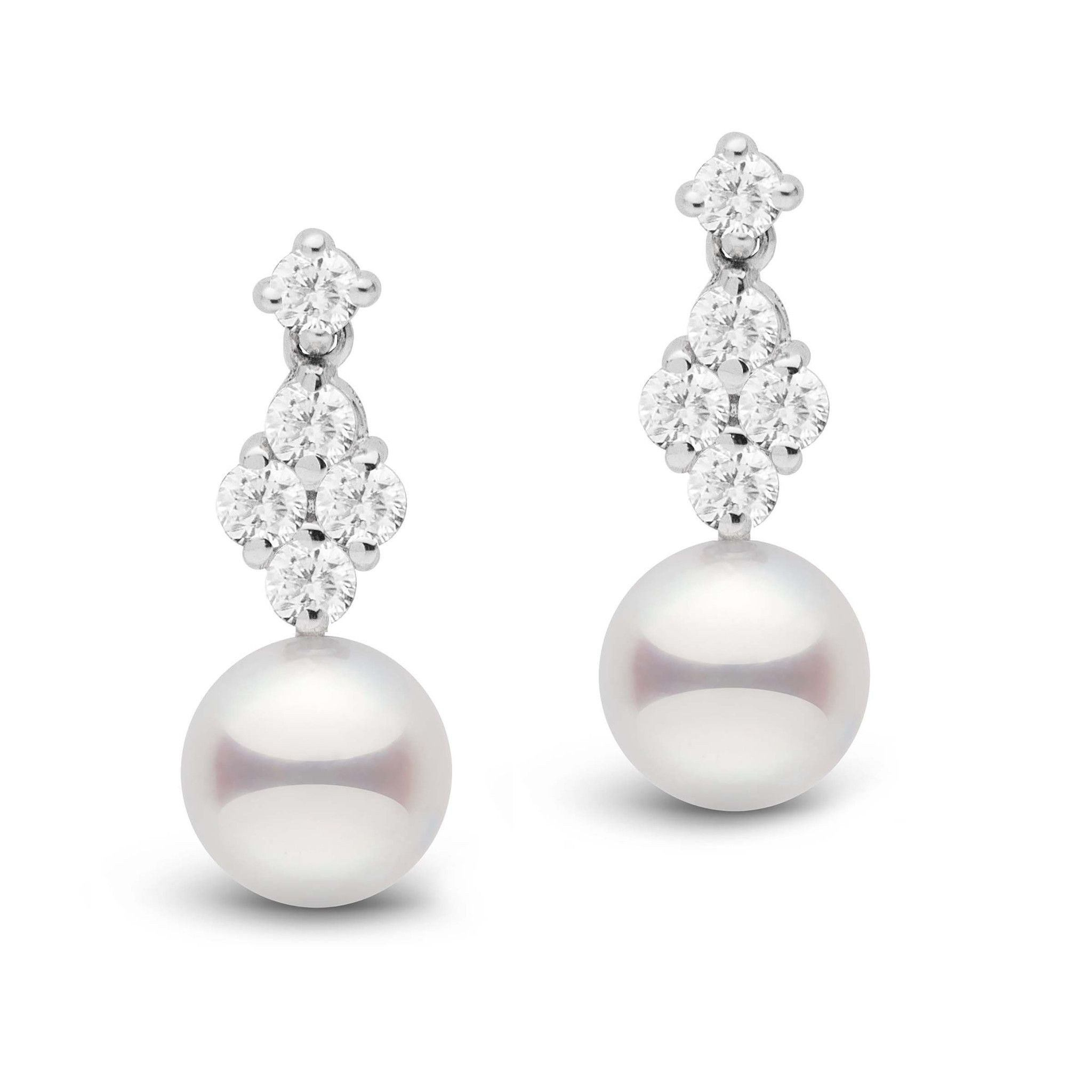 Elegance Collection Akoya 7.5-8.0 mm Pearl and Diamond Earrings