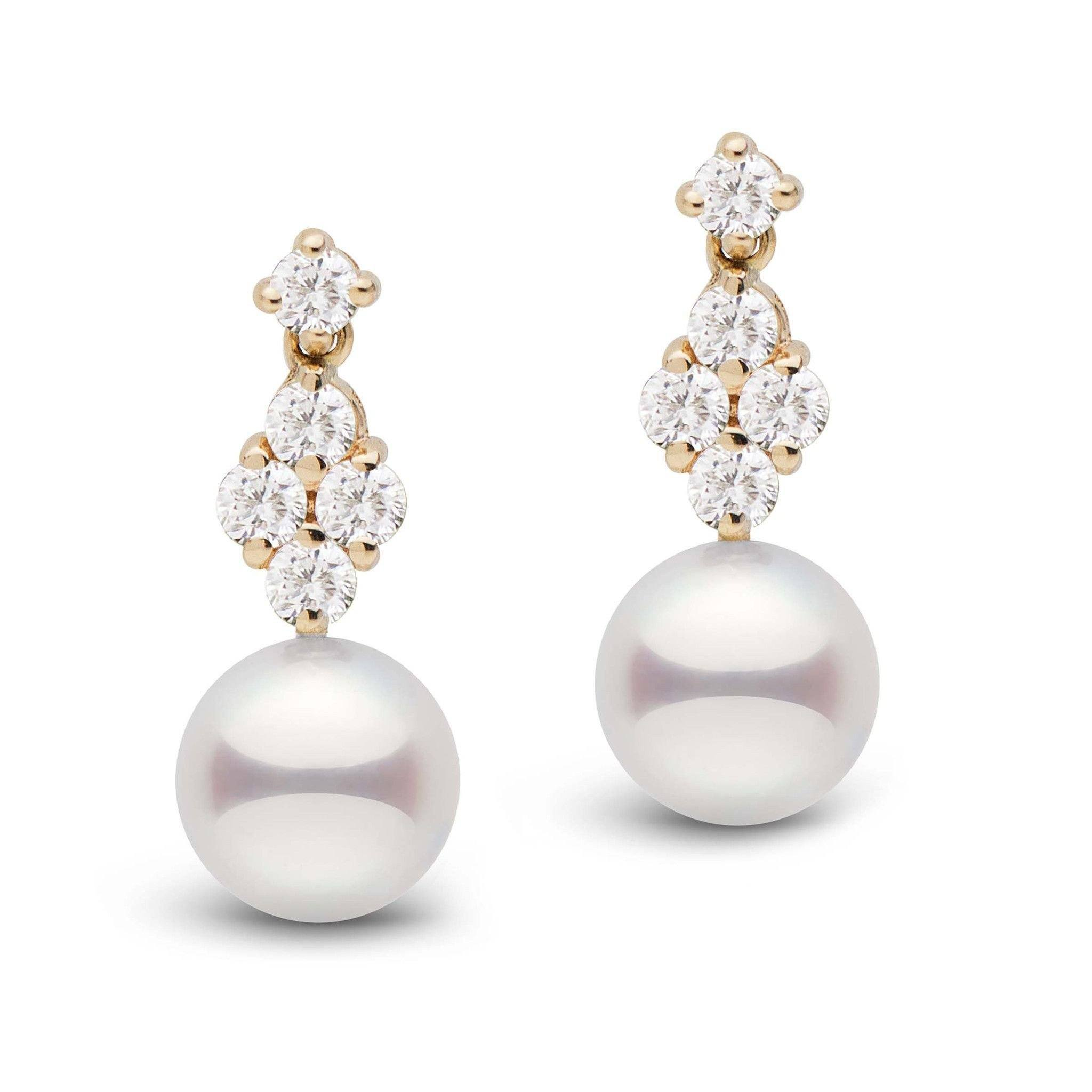 Elegance Collection Akoya 8.0-8.5 mm Pearl and Diamond Earrings