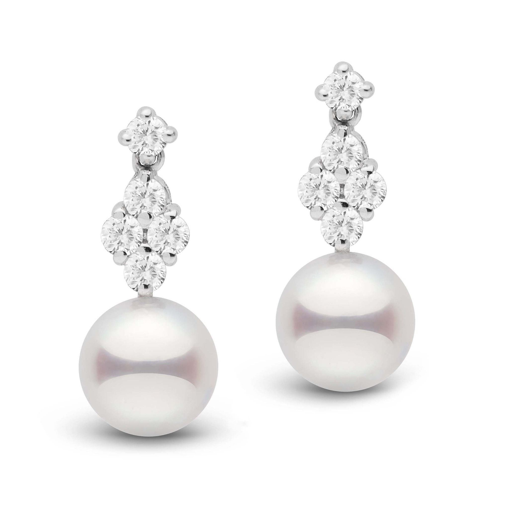Elegance Collection Akoya 8.5-9.0 mm Pearl and Diamond Earrings