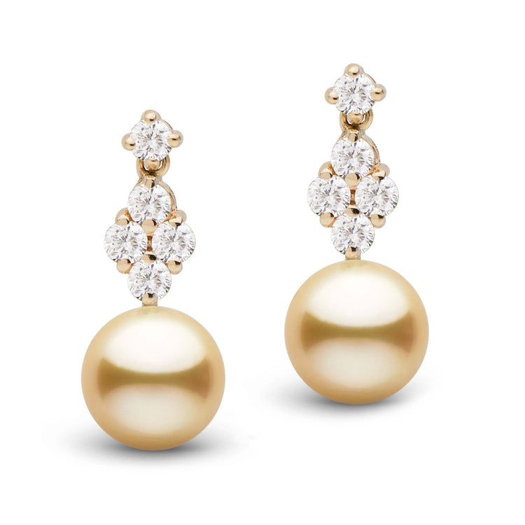 Elegance Collection Golden 9.0-10.0 mm South Sea Pearl and Diamond Earrings