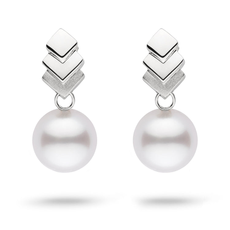 Escalier Collection White South Sea Pearl Earrings in Sterling Silver