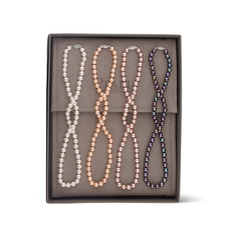 Essential Colors 4-Piece Sweetheart Set of AAA Freshwater Pearl Necklaces