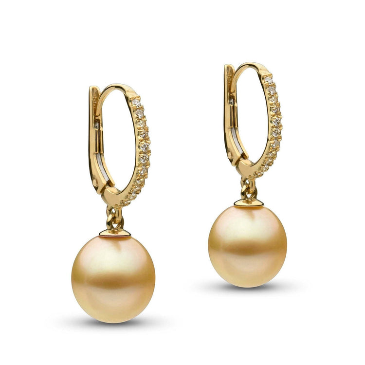 Eternal Collection Drop Golden South Sea 10.0-11.0 mm Pearl and Diamond Earrings
