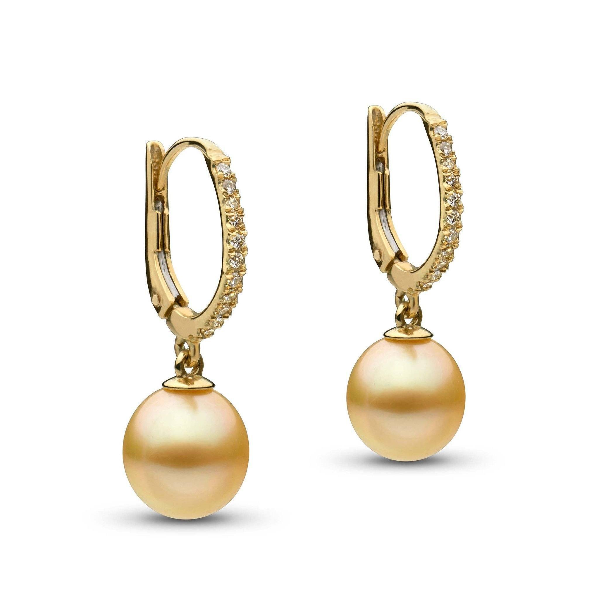 Eternal Collection Drop Golden South Sea 9.0-10.0 mm Pearl and Diamond Earrings