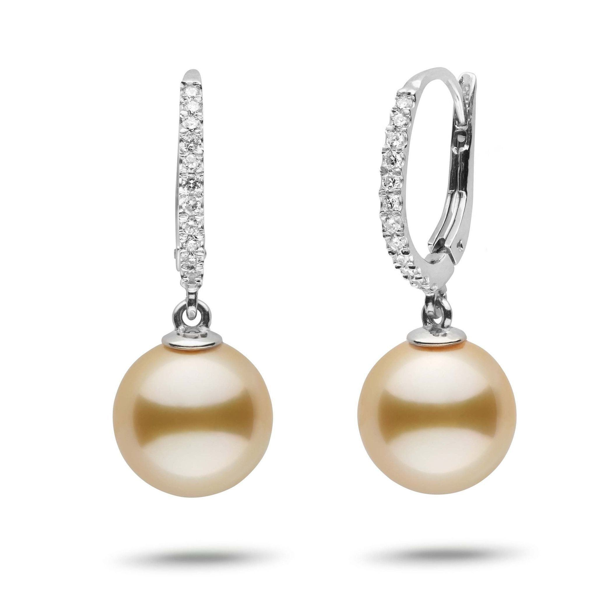 Eternal Collection Golden South Sea 10.0-11.0 mm Pearl & Diamond Dangle Earrings