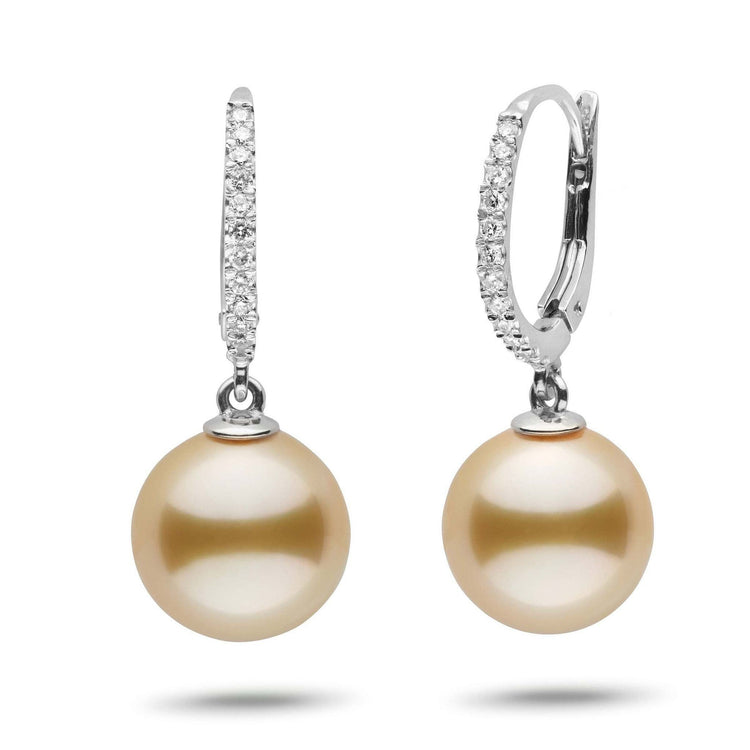 Eternal Collection Golden South Sea 11.0-12.0 mm Pearl & Diamond Dangle Earrings