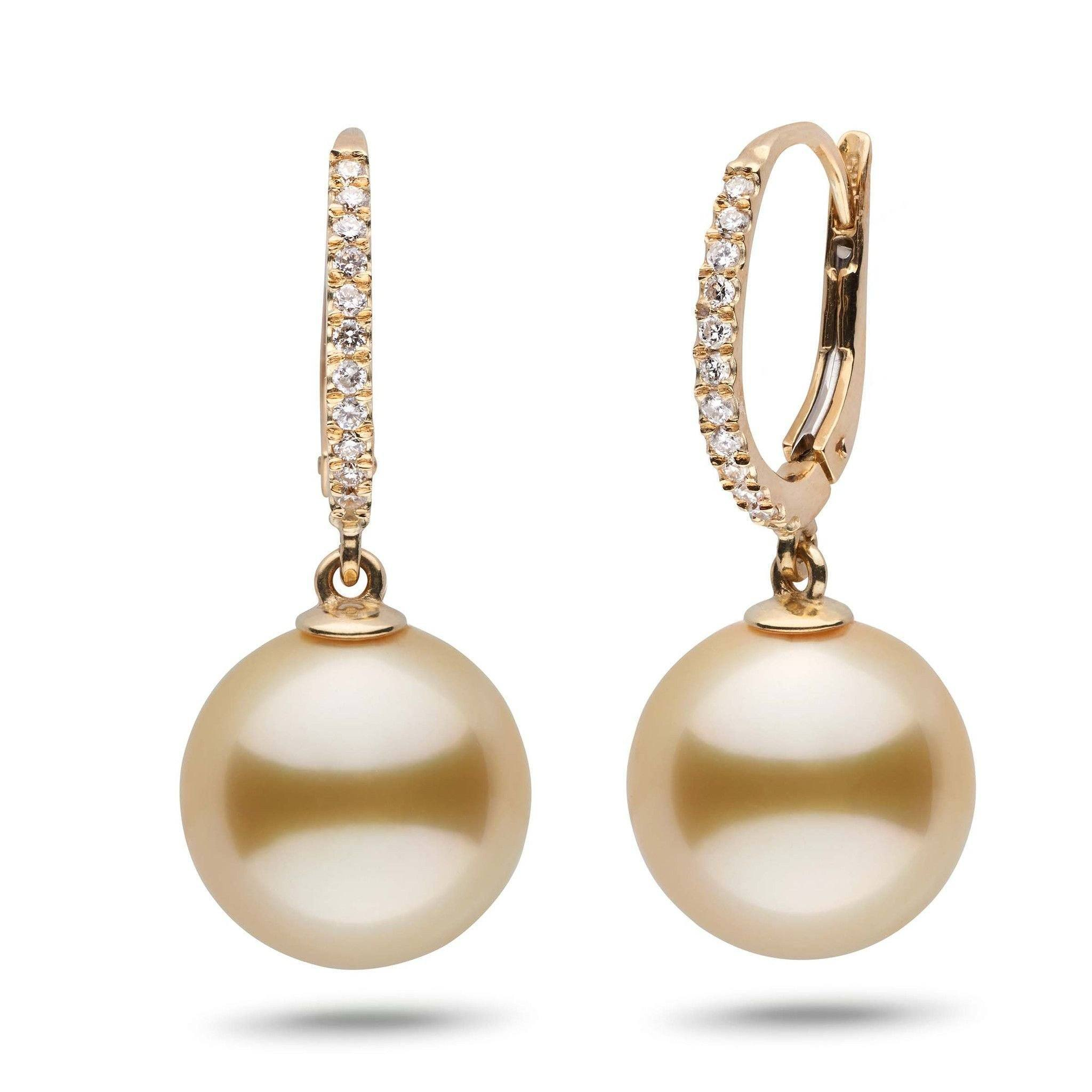 Eternal Collection Golden South Sea 12.0-13.0 mm Pearl & Diamond Dangle Earrings