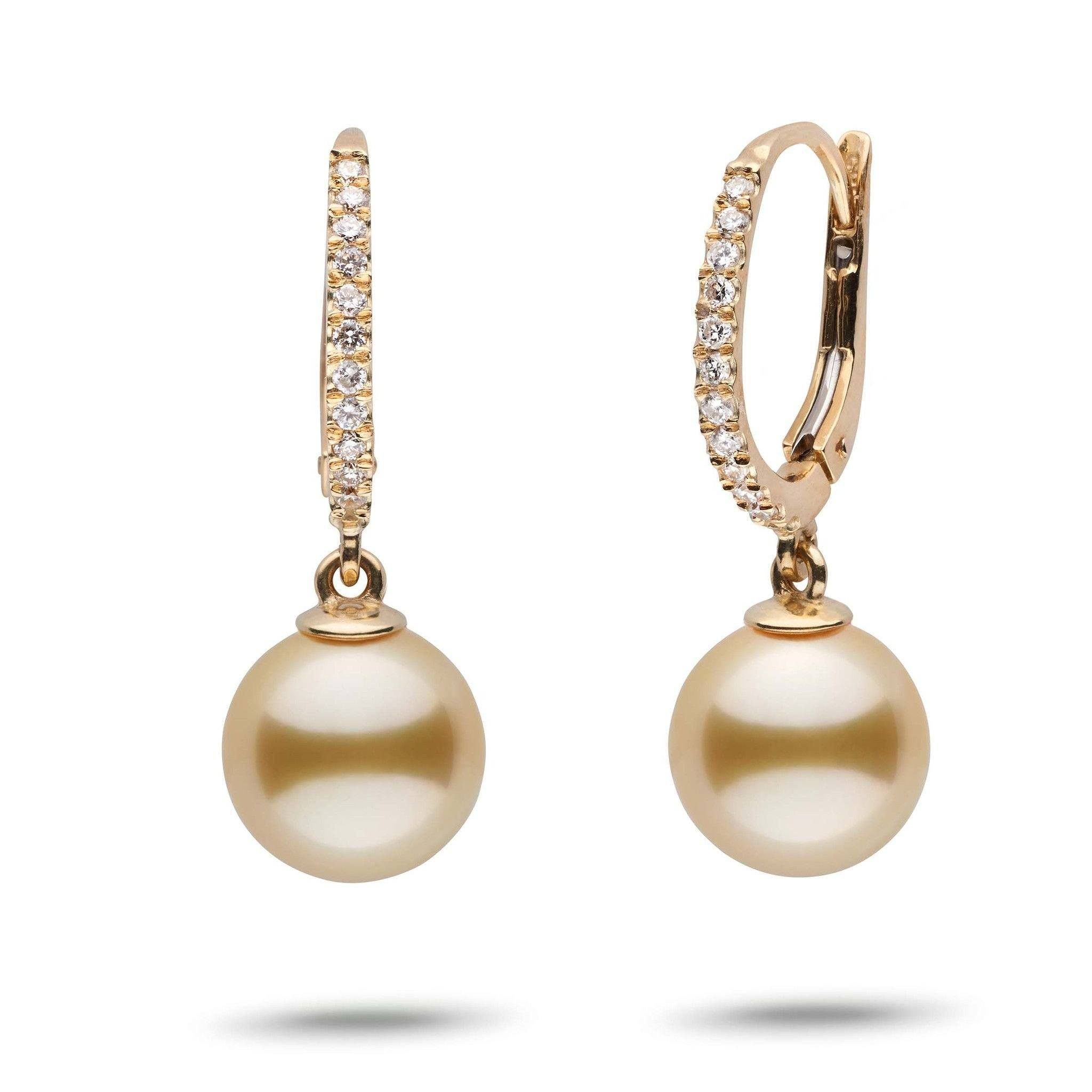 Eternal Collection Golden South Sea 9.0-10.0 mm Pearl & Diamond Dangle Earrings