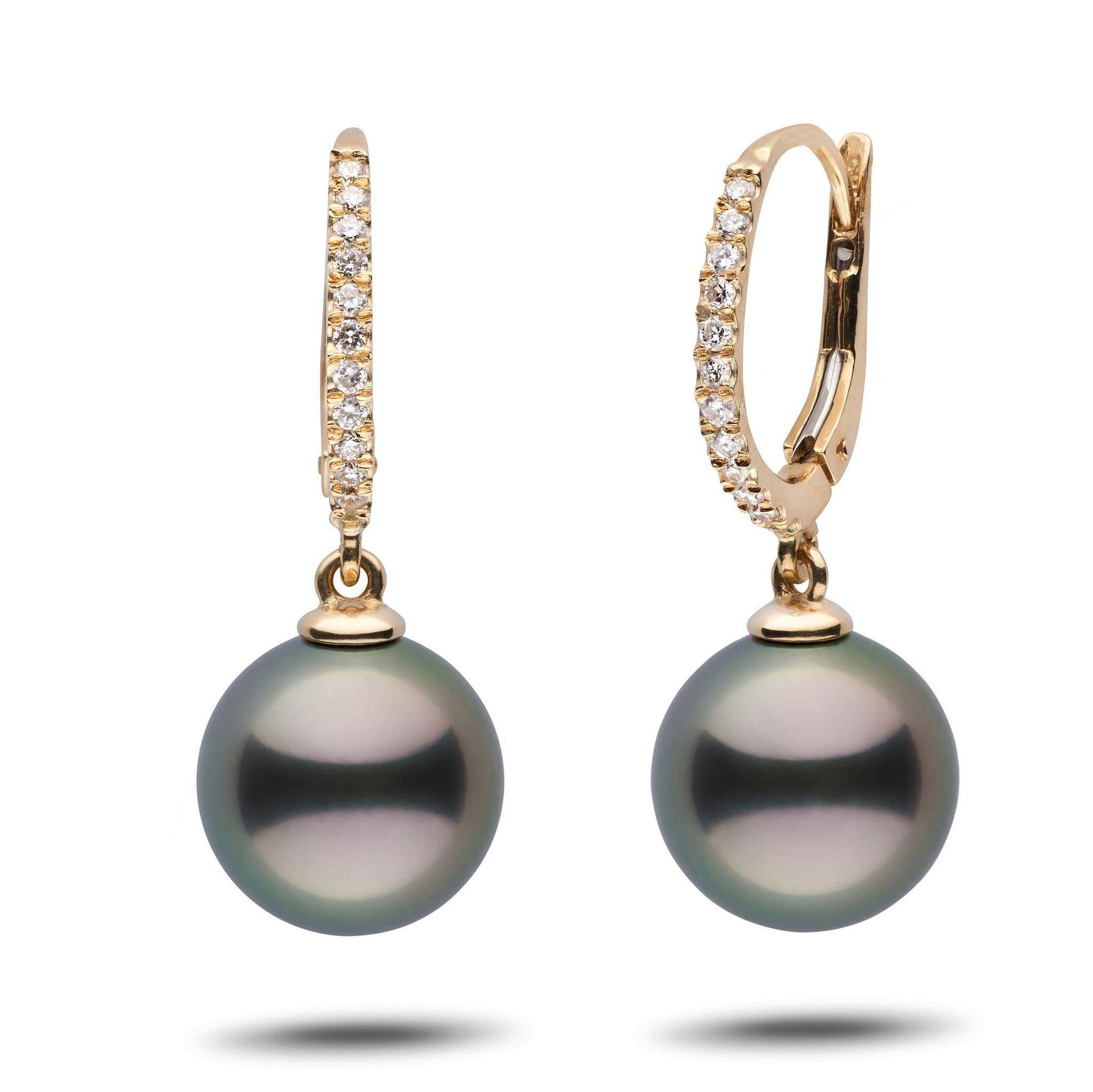 Eternal Collection Tahitian 11.0-12.0 mm Pearl & Diamond Dangle Earrings