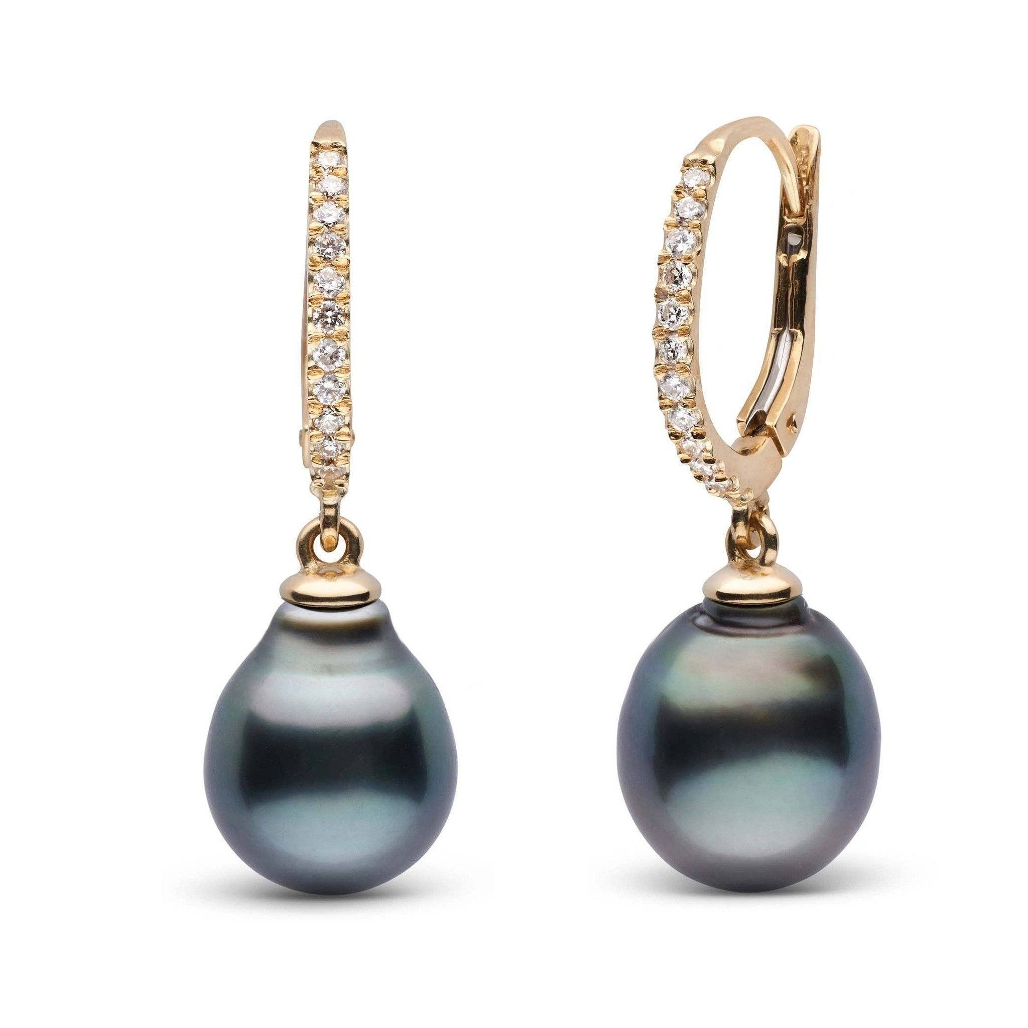 Eternal Collection Tahitian 9.0-10.0 mm Baroque Pearl & Diamond Dangle Earrings