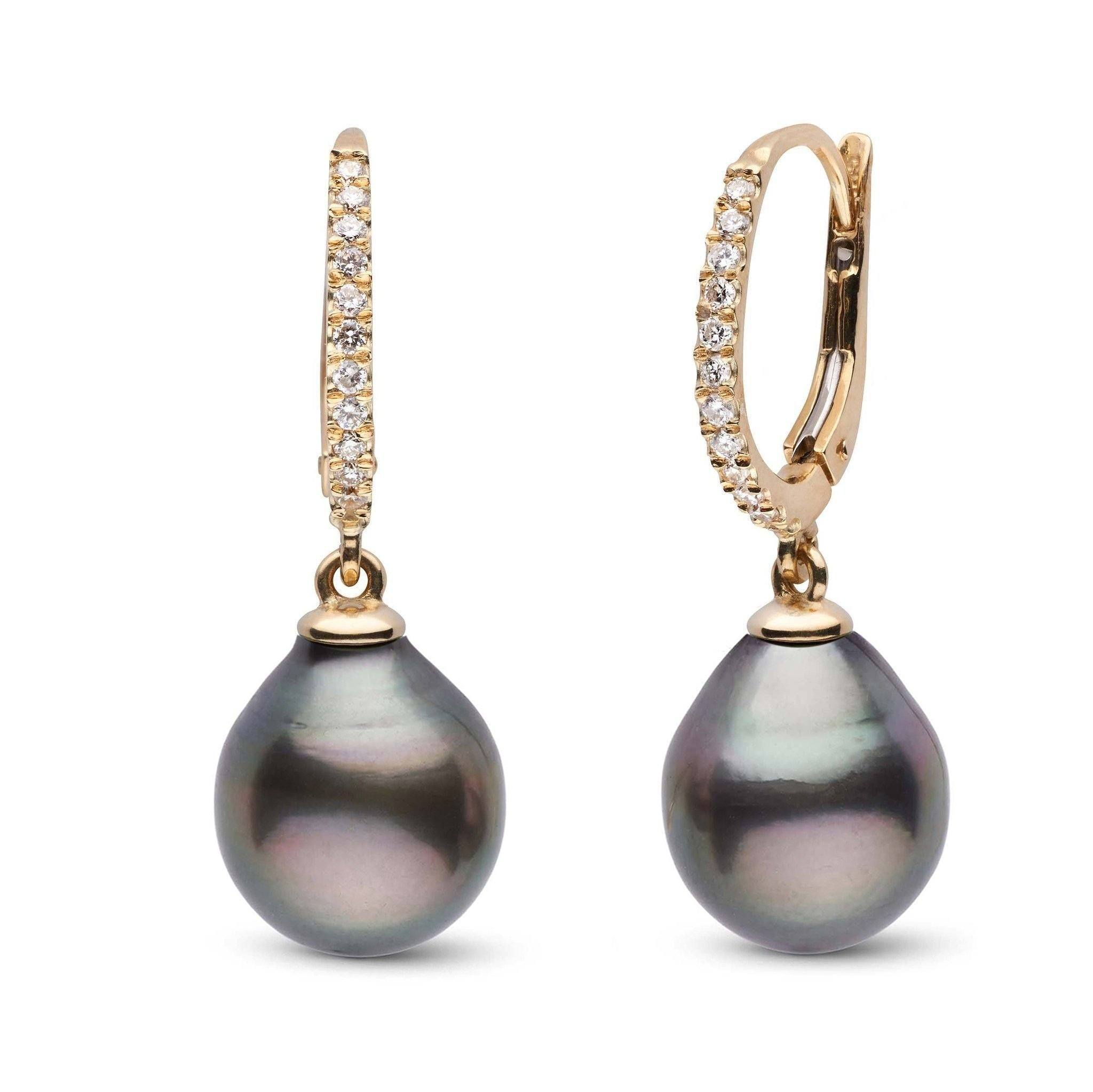 Eternal Collection Tahitian 11.0-12.0 mm Drop Pearl & Diamond Dangle Earrings
