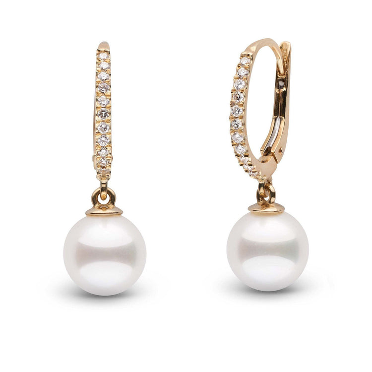 Eternal Collection White Akoya 8.0-8.5 mm Pearl & Diamond Dangle Earrings